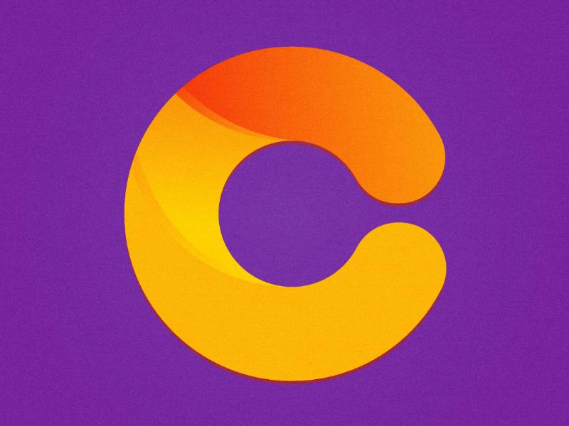 The Letter C glyph c logo purple color gradient lettering letter illustration illustrator c