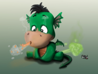 Book illustration baby dragon