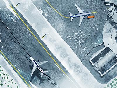 Snowy Airport tarmac terminal runway 767 winter jet airport boeing airplane plane aircraft