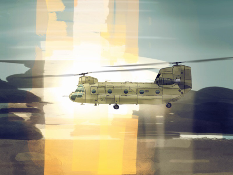 Boeing CH-47F Chinook sunset rotors copter chopper aviation army helicopter chinook