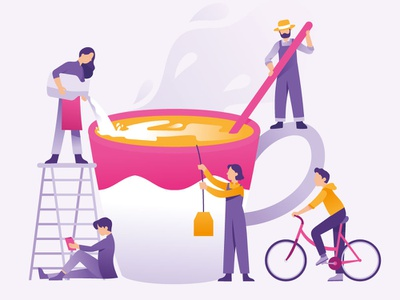 Making Tea Coffee Egg Nog gradient bike landing page concept illustration team tea drink espresso coffee beverage christmas