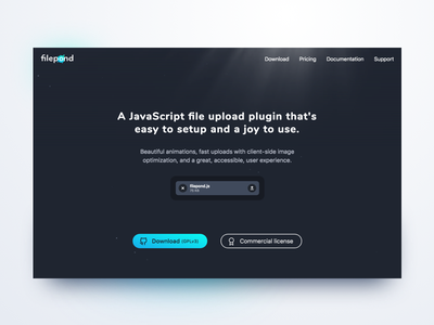 Further improvements to FilePond landing page particles animation water landing page upload file