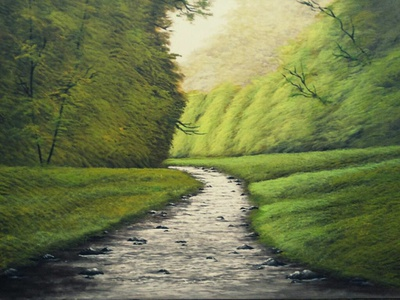 """A babbling brook"" water green handpainted canvas nature acrylic painting painting fine arts"