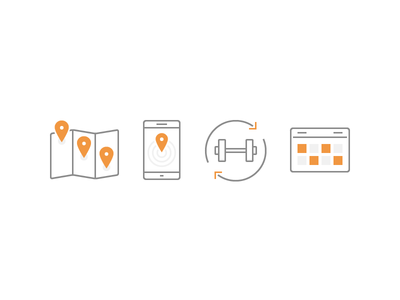 Business Icons schedule calendar equipment location map line icons outline icons