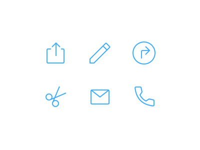 Custom icons call phone email mail scissors cut directions edit share