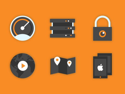 Icons for a VPN client website multi-platform multiple locations content unblocking privacy protection reliable servers fast connection vpn icons
