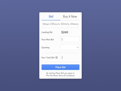 Auction Bidding Mechanic ui ux bidding auction