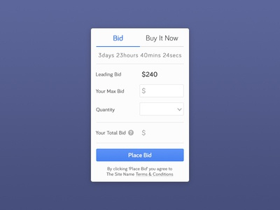 Auction Bidding Mechanic ui ux bidding auction