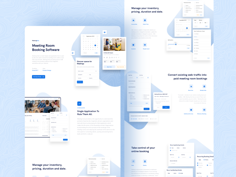 Meeting Room Booking Software - Case Study event form design amenities pricing page room booking ux cards kajal kashyap ui travel booking app web design app hotel booking saas landing page calendar online booking elements meeting app meeting room