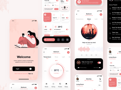 SwitchIt - Smart Home Automation App ux ui temperature login smart home smart app remote music app mobile app mobile kajal kashyap iot ios app illustraion home automation home elements control app design app