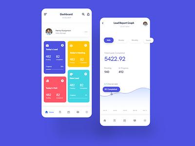 Sales and Lead Management Mobile App team enterprise payment sales finance card leads task analytics ux ui design dashboard ui sales dashboard realestate color clean branding app