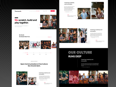 Our Culture Landing Page about us cards web design home screen homepage kajal kashyap uikit colors style guide ux product branding typography website web visual marketing ui landing page design clean