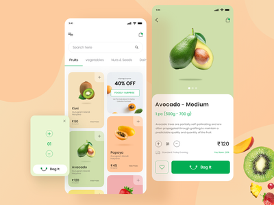Groceries Shopping Mobile App minimal typography menu userinterface food delivery app kajal kashyap add to cart product page shop clean fruit ux ui illustraion app ecommerce food design product design mobile