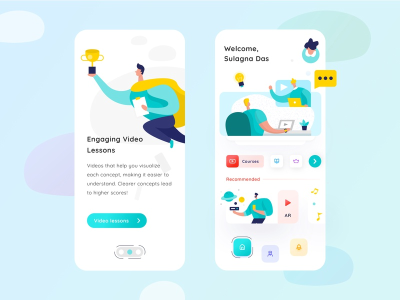 Education App clean design virtual app. online study learning. student app educationapp redesign ui 2020 trends uiux social app app design design interactive video interaction videoapp video kids app learning