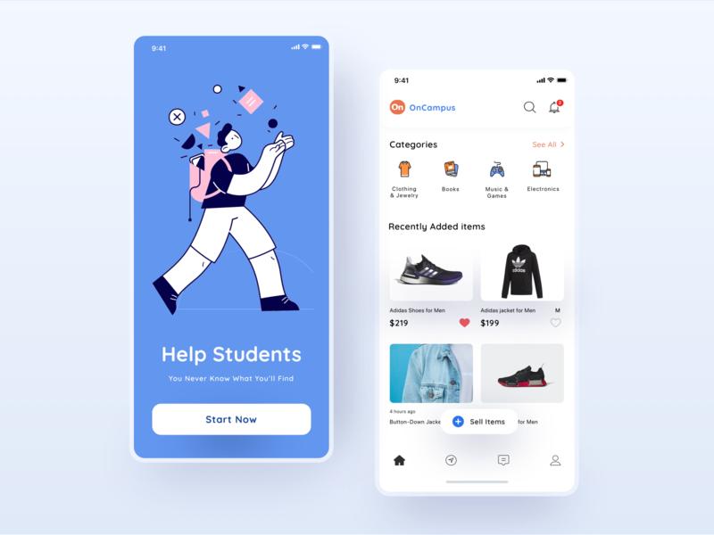 Student Market Place App_1 student app ui design ui mobile market place app gameofgods uiux app design 2020 trends branding redesign design