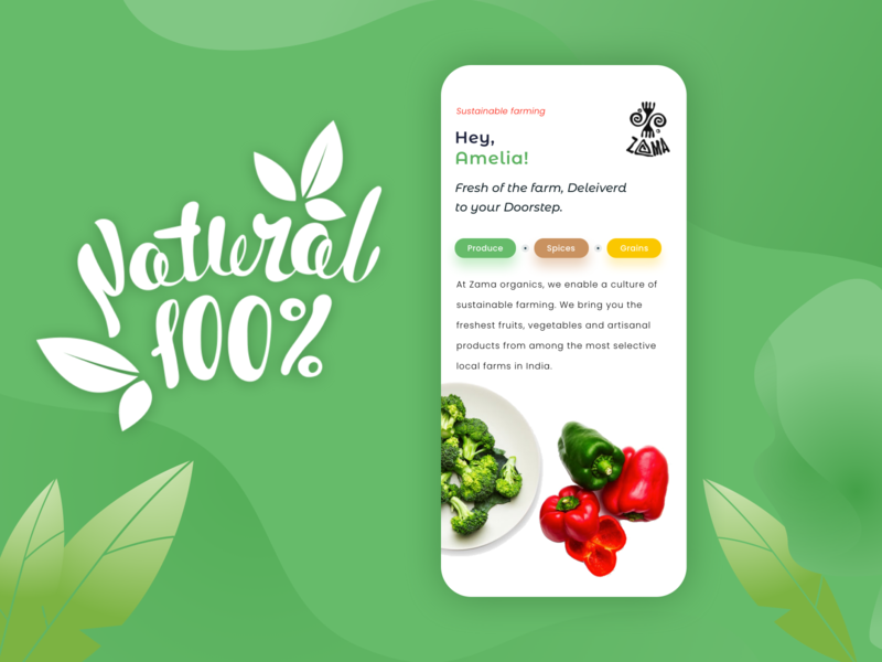 Organic Food App ☘ food nature app ui sketchapp uiux app vegitable farming green natural organic food