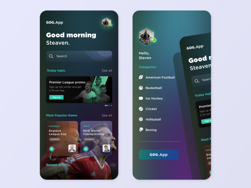 Sports App sports betting dark app dark ui design clean ui gameofgods gameofgods game sports logo trending ui dark theme sports 2020 trends