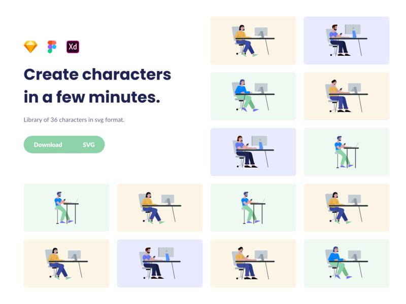 Character library. Create characters in a few minutes.