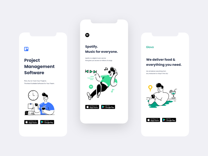 Trello | Spotify | Glovo (Concepts) spotify glovo trello mobile app flat icon vector illustration ui ux branding app concept