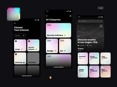 Events App   Discover Events  near your location mobile ui colorful mobile android ios mobile app web clean creative branding ui uxui ux app gradient design gradient color gradient color colors concept