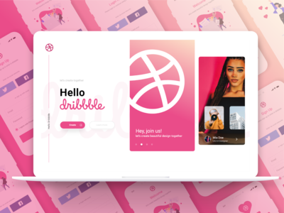 Hello dribbble! Login and Sign Up Page (Free download)