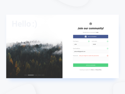 Sign Up Page (Desktop | Web | Free download) Adobe XD