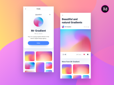 Gradient Profile: Social Network (Adobe XD - free download)