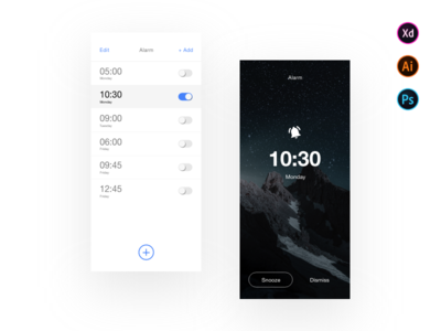 Clock App ( Alarm app ) - Free Download App ( Adobe XD )