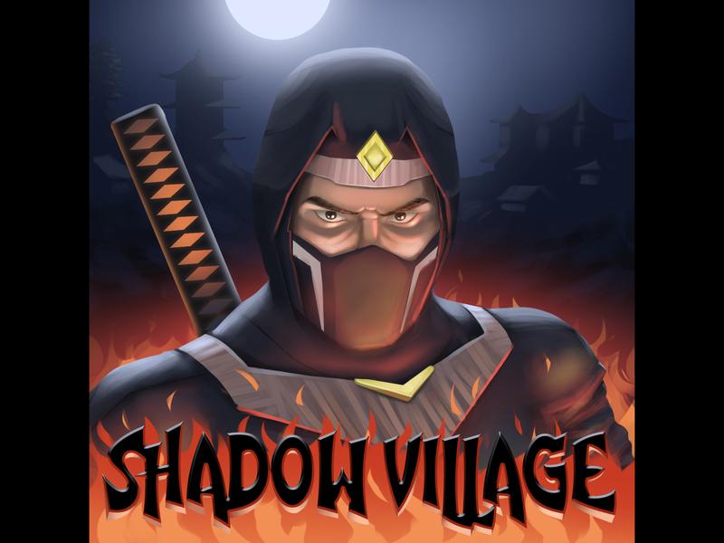 Ozan Atak Illustrasyon Task Shadow Village night ninja village ninja illustration game splash game concept