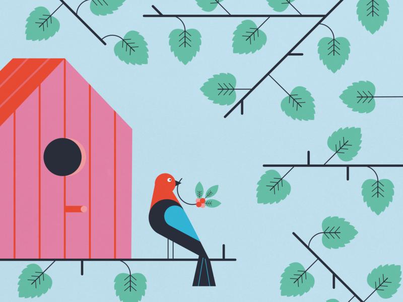 birdhouse nature illustration nature leafs leaves plants birdhouse illustration birdhouse bird illustration bird flat illustration illustration