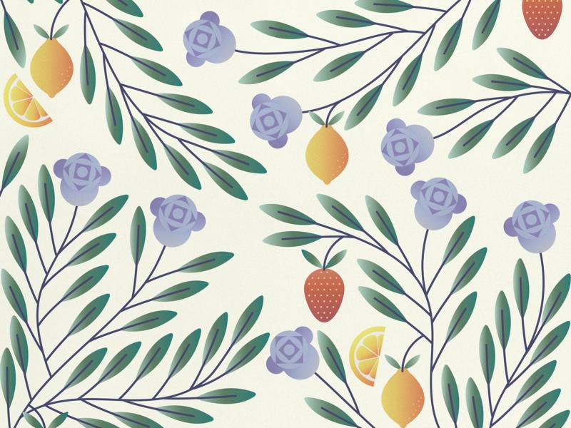 flowers and fruits nature flowers strawberry lemon fruit flat illustration illustration