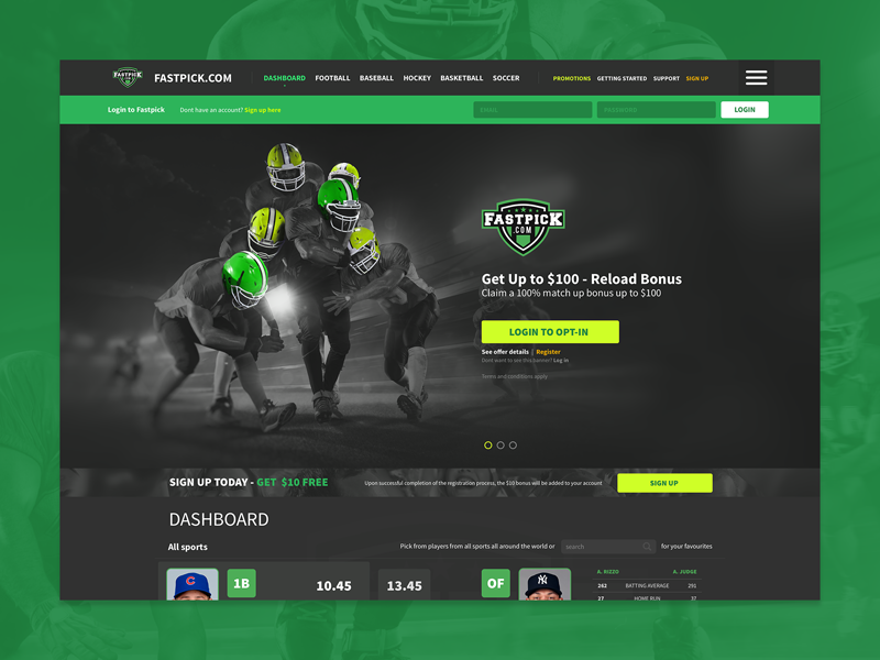Fastpick landing page website dark ui betting sports fantasy