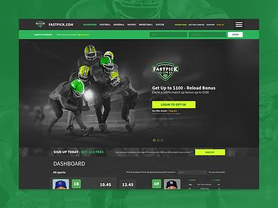 Fastpick landing page website dark ui betting sports fantasy