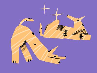 Dog stickers procreate doggy shine stars stickers sparkle purple yellow illustration dog