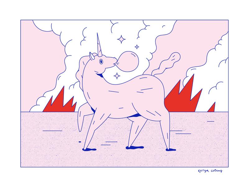 Unicorn design character girls crazy love horse silkprint screenprint blue gum bubble pink fire illustration unicorn