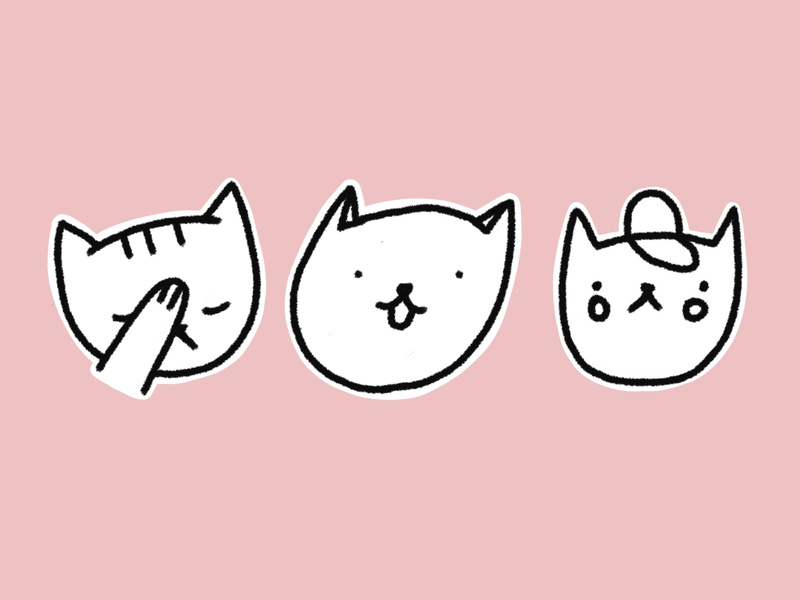 Cats stickers cute meaw facepalm cat kitten cat drawing telegram stickers telegram stickers cat illustration cats cat drawing black and white pink black love print design character illustration