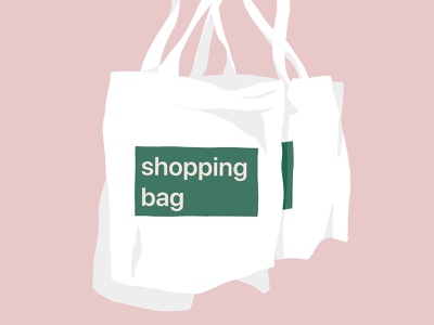 Simple two shopping bag shopping minimal minimalism simple pure bags illustration