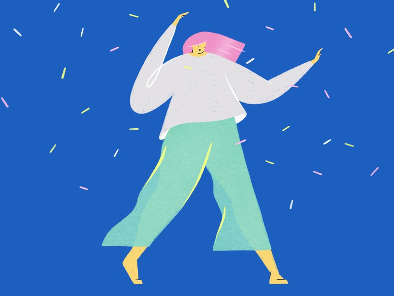 Dance, girl! party blue girls woman character illustration dancer dance