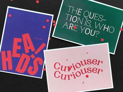 Postcads font typo postcards confetti alice in wonderland postcard typogaphy