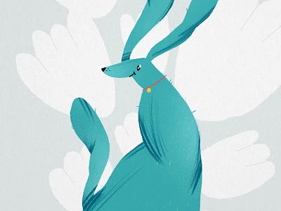 Blue dog blue dog illustration print dog love design character illustration