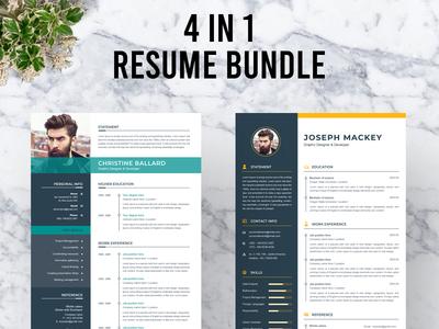 Resume Bundle illustration resume clean cv cv template modern resume elegant resume professional resume cv clean clean resume a4