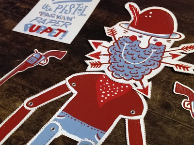 Pete 3 illustration typography red blue screen print