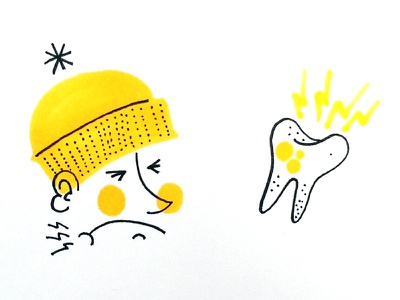 Tooth yellow illustration copic micron