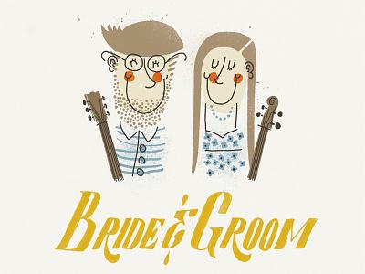 Bride & Groom typography illustration music