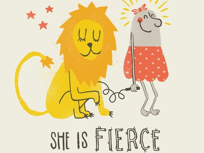 Though She Be But Little shakespeare illustration lion yellow typography type