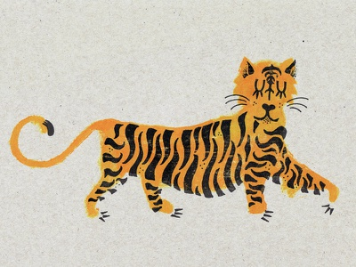 Tigre animal illustration yellow acrylic risograph riso print