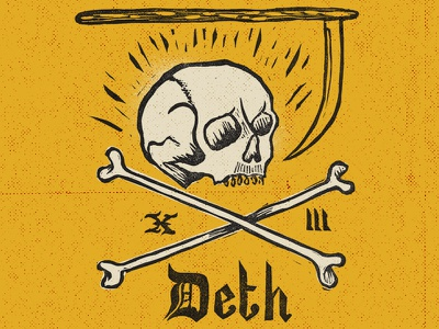 Lucky Number skull tarot death luck 13 yellow lino typography xiii
