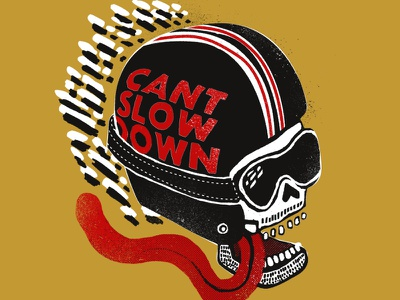 Can't Slow Down illustration gold red black skull motorcycle speed