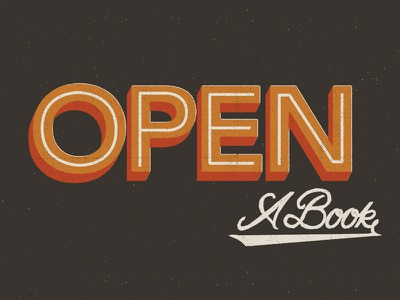 Open A Book typography lettering sign orange