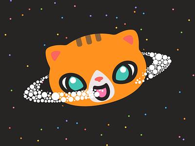 Caturn oneness spacecat space dailyillustration vectorillustration yogicats meow snowballs cat saturn